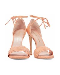 Stuart Weitzman - Multicolor Woman Lace-up Fringed Lizard-effect Leather Sandals Peach - Lyst