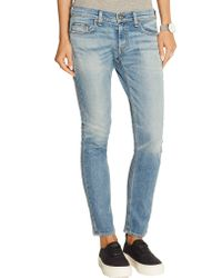Rag & Bone - Blue Tomboy Low-rise Slim-leg Jeans - Lyst