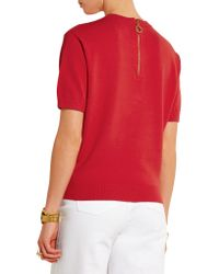 DKNY - Red Knitted Sweater - Lyst