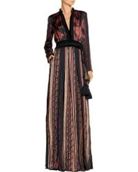 Lanvin - Multicolor Velvet And Grosgrain-trimmed Printed Satin Maxi Dress - Lyst