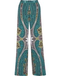 Etro | Blue Printed Silk Crepe De Chine Wide-leg Pants | Lyst