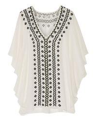 Alice + Olivia | White Embellished Silk-chiffon Top | Lyst