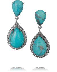 Elizabeth Cole - Blue Faye Silver-tone, Swarovski Crystal And Howlite Earrings - Lyst