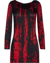 Balmain | Red Printed Silk-chiffon Mini Dress | Lyst
