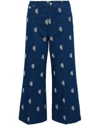 Stella McCartney - Blue Embroidered High-rise Wide-leg Jeans - Lyst