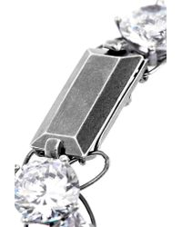 Bottega Veneta - Metallic Oxidized Sterling Silver Cubic Zirconia Bracelet - Lyst