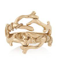 Oscar de la Renta | Metallic Gold-plated Crystal Cuff | Lyst