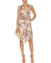 Haute Hippie - Pink Floral-print Silk Mini Dress - Lyst
