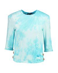 Balmain - Blue Printed Cotton-terry Sweatshirt - Lyst