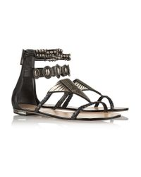 Schutz - Black Embellished Leather Sandals - Lyst
