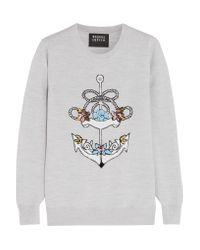 Markus Lupfer | Gray Natalie Sequin-embellished Merino Wool Sweater | Lyst