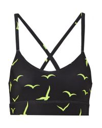 Mara Hoffman - Black Printed Stretch-jersey Sports Bra - Lyst