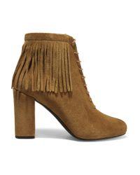 Saint Laurent | Brown Babies Fringed Suede Boots | Lyst