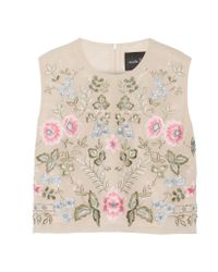 Needle & Thread | Natural Cropped Embellished Chiffon Top | Lyst