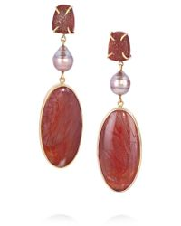 Melissa Joy Manning | Metallic 14-karat Gold, Petrified Wood, Pearl And Druzy Earrings | Lyst