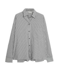 Vince - Gray Striped Cotton-poplin Shirt - Lyst