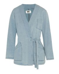 MM6 by Maison Martin Margiela Blue Wrap-effect Denim Jacket