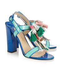 Paul Andrew - Blue Arta Tassel-embellished Patent-leather Sandals - Lyst