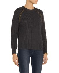 Tory Burch Gray Trudy Embellished Wool Sweater