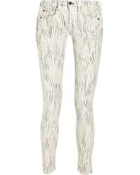 Rag & Bone | White The Skinny Low-rise Printed Stretch-twill Jeans | Lyst
