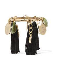 Oscar de la Renta | Black Gold-plated, Tasseled Silk, Faux Pearl And Stone Bracelet | Lyst
