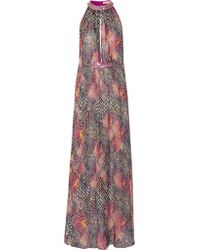 Matthew Williamson | Pink Embellished Printed Silk-chiffon Maxi Dress | Lyst