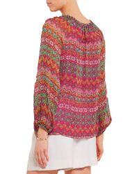 Diane von Furstenberg - Multicolor Parry Printed Silk-chiffon Top - Lyst