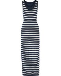 Splendid | Blue Striped Cotton-jersey Maxi Dress | Lyst