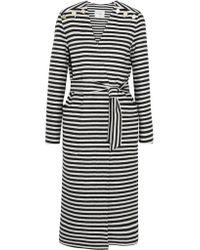 Max Mara | Blue Striped Wool And Angora-blend Coat | Lyst