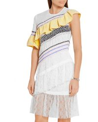 Peter Pilotto - White Octave Ruffled Tulle And Corded Lace Mini Dress - Lyst