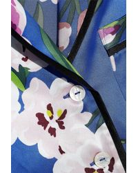 Olivia Von Halle - Woman Lila Briella Floral-print Silk-satin Pajama Set Cobalt Blue - Lyst