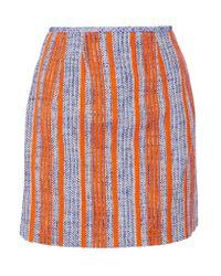 Carven   Orange Striped Cotton-tweed Mini Skirt   Lyst