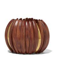 Kenneth Jay Lane   Metallic Gold-plated Wood Bracelet   Lyst