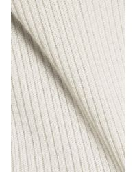 Calvin Klein - Natural Bobbie Ribbed Wool, Silk And Cashmere-blend Sweater - Lyst