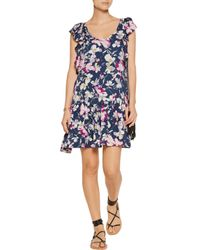 Joie | Blue Larose Printed Silk-chiffon Mini Dress | Lyst