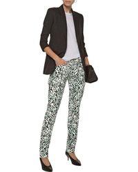 Balmain - White Low-rise Leopard-print Straight-leg Jeans - Lyst