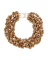 Kenneth Jay Lane - Brown Gold-plated Beaded Necklace - Lyst