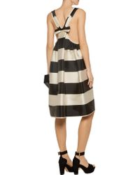Rochas - Black Two-tone Striped Satin Dress - Lyst