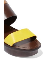 Tory Burch - Yellow Essex Color-block Leather Wedge Sandals - Lyst