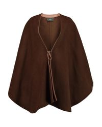 JOSEPH | Brown Oslo Leather-trimmed Wool And Cashmere-blend Cape | Lyst