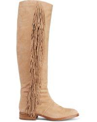 Sam Edelman | Brown Josephine Fringed Suede Boots | Lyst