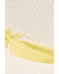 Sensi Studio - White Feather-trimmed Toquilla Straw Panama Hat - Lyst