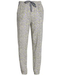 Calvin Klein - Woman Leopard-print Jersey Pajama Pants Light Gray - Lyst
