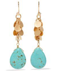 Kenneth Jay Lane | Metallic Gold-tone Turquoise Earrings | Lyst