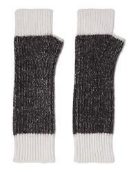 Duffy | Black Two-tone Merino Wool-blend Fingerless Gloves | Lyst