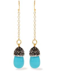 Kevia | Multicolor - Gold-tone Stone And Crystal Earrings - Turquoise | Lyst