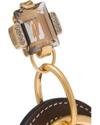 Marni Metallic Gold-tone, Leather And Crystal Earrings