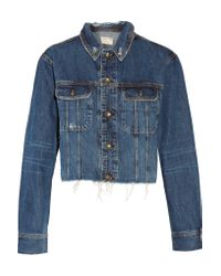 Rag & Bone - Blue Cropped Denim Jacket - Lyst