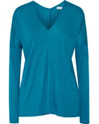 VINCE | Blue Stretch-jersey Top | Lyst