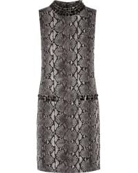 MICHAEL Michael Kors | Black Embellished Printed Stretch-jersey Mini Dress | Lyst